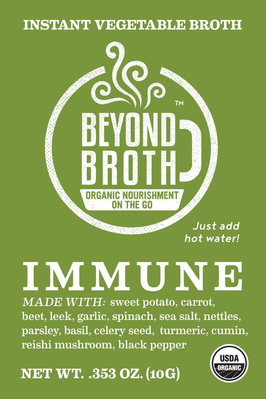 Beyond Broth Turmeric Reishi Immune Organic Vegan Vegetable Instant Sipping Broth; For On The Go Or Cooking, Keto, Paleo and Whole30 Friendly, 18 single serve packets