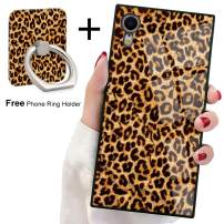 Bitobe iPhone XR Square Edges Case with Phone Ring Stand Grip Holder Soft TPU Slim Square Case Phone Cover for iPhone XR (Leopard)