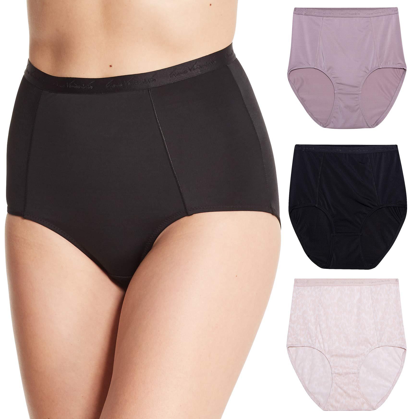 Gloria Vanderbilt Womens 3 Pack Tagless Microfiber Full Coverage Shapewear Brief Panties