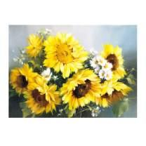 MXJSUA DIY 5D Diamond Painting by Number Kits Round Drill Rhinestone Picture Craft for Home Wall Decor 10x14In Sunflower Daisy