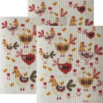 Chickens! Set of 3 Each Swedish Dishcloths   ECO Friendly Absorbent Cleaning Cloth   Reusable Cleaning Wipes