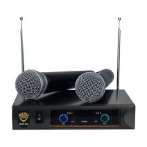 Nady DKW DUO HT B/D VHF Dual Wireless Handheld Microphone System – includes 2 microphones, AC adapter and audio cable – Easy setup – Karaoke, performance, presentation, public address