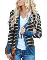 Elsofer Women's Striped Snap Button Down Knitwear V-Neck Long Sleeve Color Block Knit Cardigan Sweaters