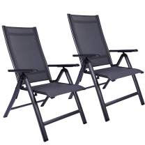 REDCAMP Patio Lounge Chair Set of 2 for Outside, Lightweight Aluminum Adjustable High Back Outdoor Sling Reclining Lawn Chairs Zero Gravity with Hard Arms, Black