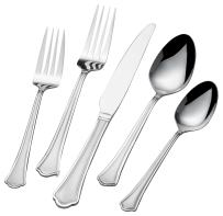 International Silver 5159006 Carpi Frost 51-Piece Stainless Steel Flatware Set with Serving Utensils and Extra Teaspoons, Service for 8