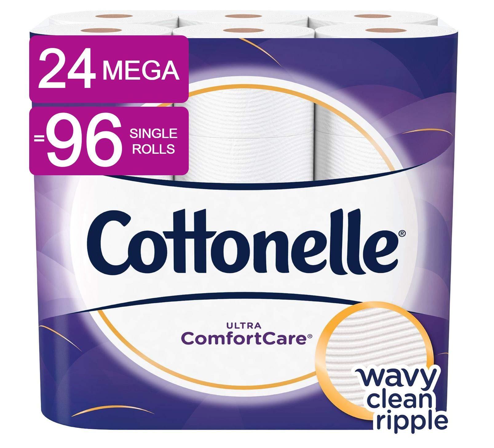 Cottonelle Ultra ComfortCare Soft Toilet Paper, 24 Mega Rolls, Bath Tissue