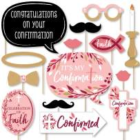 Big Dot of Happiness Confirmation Pink Elegant Cross - Girl Religious Party Photo Booth Props Kit - 20 Count