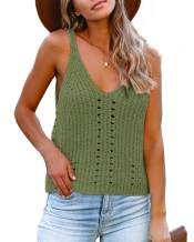 Flawerwumen Womens V Neck Tank Tops Sweater Vest Knit Sleeveless Strappy Casual Sheer Pullover Sweaters Shirts Blouse