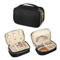 Q-smile Travel Jewelry Case Jewelry Organizer Bag Double Layer Storage Carrying Pouch Holder for Necklaces, Earrings, Bracelets, Rings, Watch and More,Compact and Portable (Black, Small)