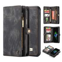 """iPhone Xs Case, iPhone X Case, Magnetic Detachable Wallet Handmade Premium Cowhide Leather Flip Folio Removable Cover Zipper Purse with Hand Strap 10 Card Holders Slots for iPhone X/Xs 5.8"""" - Black"""