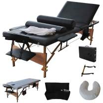 """Giantex Portable Massage Table Facial Bed 3 Fold Section, 32"""" Wide Arms for Salon Beauty Physiotherapy Facial SPA Tattoo Household, 84""""L Adjustable Spa Bed Table w/Sheet+Cradle Cover+2 Bolster, Black"""