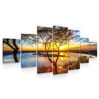 Startonight Huge Canvas Wall Art - Sunrise On The Lake Large Framed Set of 7 40 x 95 Inches