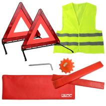 DEDC Car Safety Triangle Warning Kit, Roadside Emergency Kit with Reflective Warning Triangle,Visibility Roadside Vest, LED Road Flares Emergency Lights, Set of 4