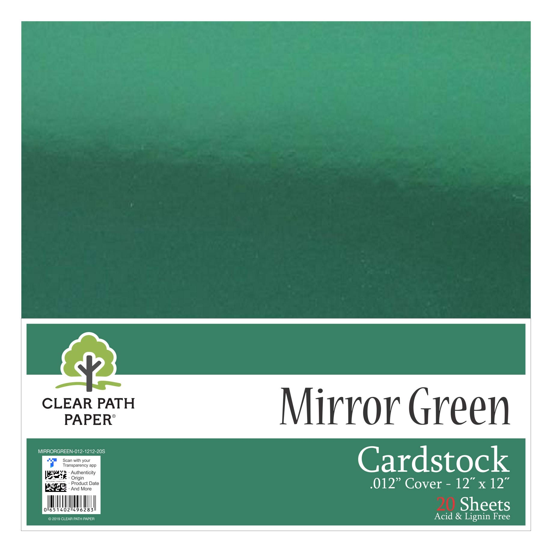 "Mirror Metallic Green Cardstock - 12 x 12 inch - .012"" Thick - 20 Sheets"