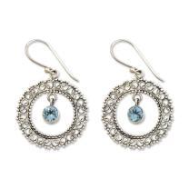 NOVICA Blue Topaz .925 Sterling Silver Dangle Earrings, Radiant Halo'