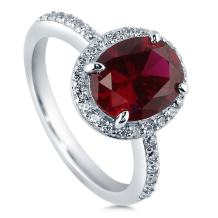 BERRICLE Rhodium Plated Sterling Silver Simulated Ruby Oval Cut Cubic Zirconia CZ Halo Engagement Ring 2.28 CTW