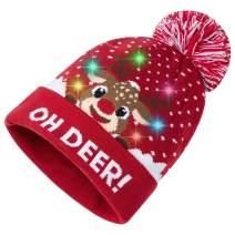 Led Light Up Ugly Christmas Hat Stylish Xmas Beanie Funny Novelty Knit Cap Holiday Sweater Beanie Hat