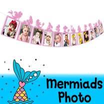 AERZETIX Mermaid Photo Banner Sweet Baby Girl 12 Months Newborn Children Birthday Party Decoration