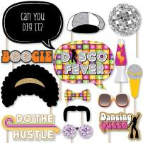 Big Dot of Happiness 70's Disco - 1970s Disco Fever Party Photo Booth Props Kit - 20 Count