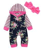 Newborn Baby Girl Romper Overalls Autumn Hooded Jumpsuit Outfits Clothes Toddler Kids Girls Striped Floral Rompers Playsuit