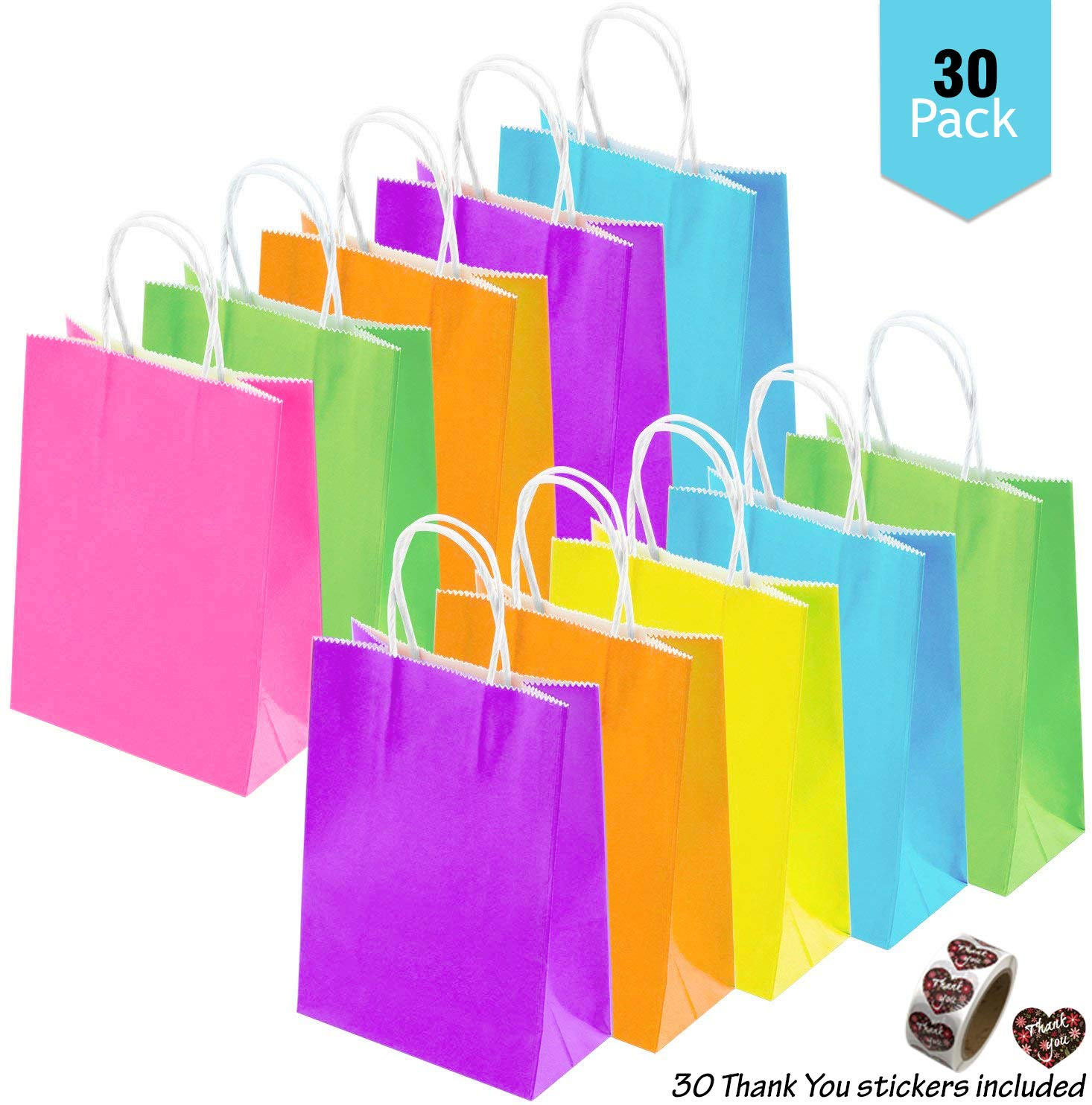30 Pieces Of Party Favor Bags with Handle AND 30 DIY Thank You Stickers 6 Vibrant Colors For Birthdays Candies Party Wedding Gifts Favor Bubble School Christmas Baby Shower Halloween ThanksGiving Squishes Toys Food