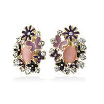 Multi Color Button Style Cats Eye Garden Butterflies Flower Clip On Earrings For Women Non Pierced Ears More Colors