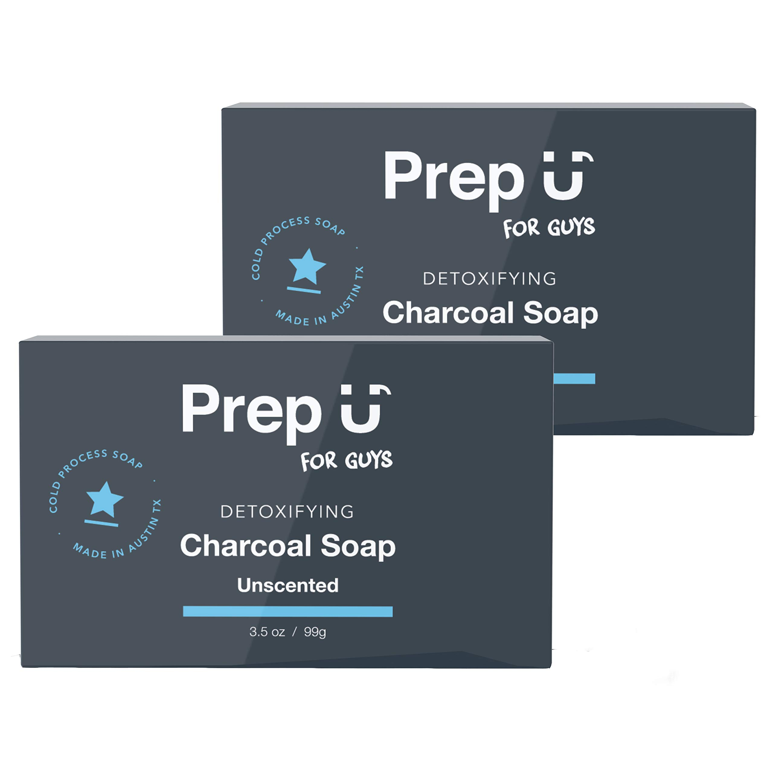 Prep U | Detoxifying Activated Charcoal Soap for Boys, Teens, Men (2-Pk) | Naturally Absorb Impurities and Toxins, Control Oily Skin | Daily Face & Body Cleanse w/Bentonite Clay | Unscented- 3.5 oz