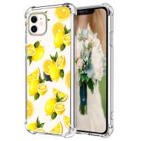 """Hepix Fresh Lemon iPhone 11 Case, Cute Yellow Lemon Clear iPhone 11 Cases, Soft Flexiable TPU Slim Protective Phone Cases with Four Bumpers Anti-Scratch Shock Absorbing for iPhone 11 (6.1"""") 2019"""