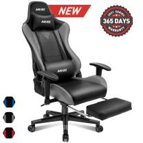 Muzii BIFMA Certified Gaming Chair with Footrest, High-Back PU Leather Office Chair with Headrest and Adjustable Lumbar Support,Ergonomic Computer Swivel Chair for Teens and Adults-Grey(001)