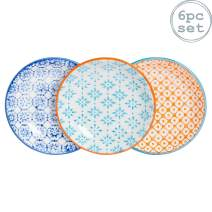 Nicola Spring 6 Piece Hand-Printed Sauce Dish Set - Small Japanese Style Porcelain Salsa, Soy Dipping Plates - 3 Colours - 10cm