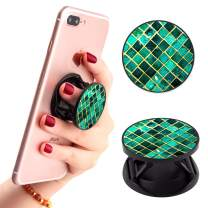 Green Lattice Marble Phone Finger Foldable Expanding Stand Holder Kickstand Hand Grip Car Mount Hooks Widely Compatible with Almost All Phones/Cases