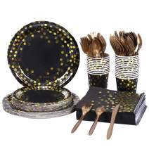 HomyPlaza 192 PCS Black and Gold Party Supplies Disposable Paper Plates Dinnerware Set 24 Dinner Plates 24 Dessert Plates 24 Cups Napkins Knives Forks