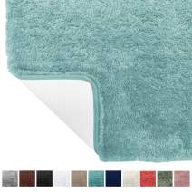 Gorilla Grip Original Premium Luxury Bath Rug, 42x24 Inch, Incredibly Soft, Thick, Absorbent Bathroom Mat Rugs, Machine Wash and Dry, Plush Carpet Mats for Bath Room, Shower, Hot Tub, Spa Blue