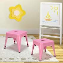 Costzon Kids Stackable Metal Stools w/Safety Rounded Corners & Rubber Pads, Children Portable Steel Stools for Kindergarten School Classroom, Toddlers Stepping Stool for Kitchen (Pink, Set of 2)