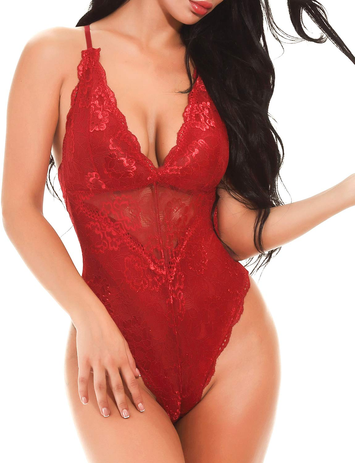 Women's Sexy Plus Size Lace Teddy Bodysuit Lingerie Deep V Snap Crotch