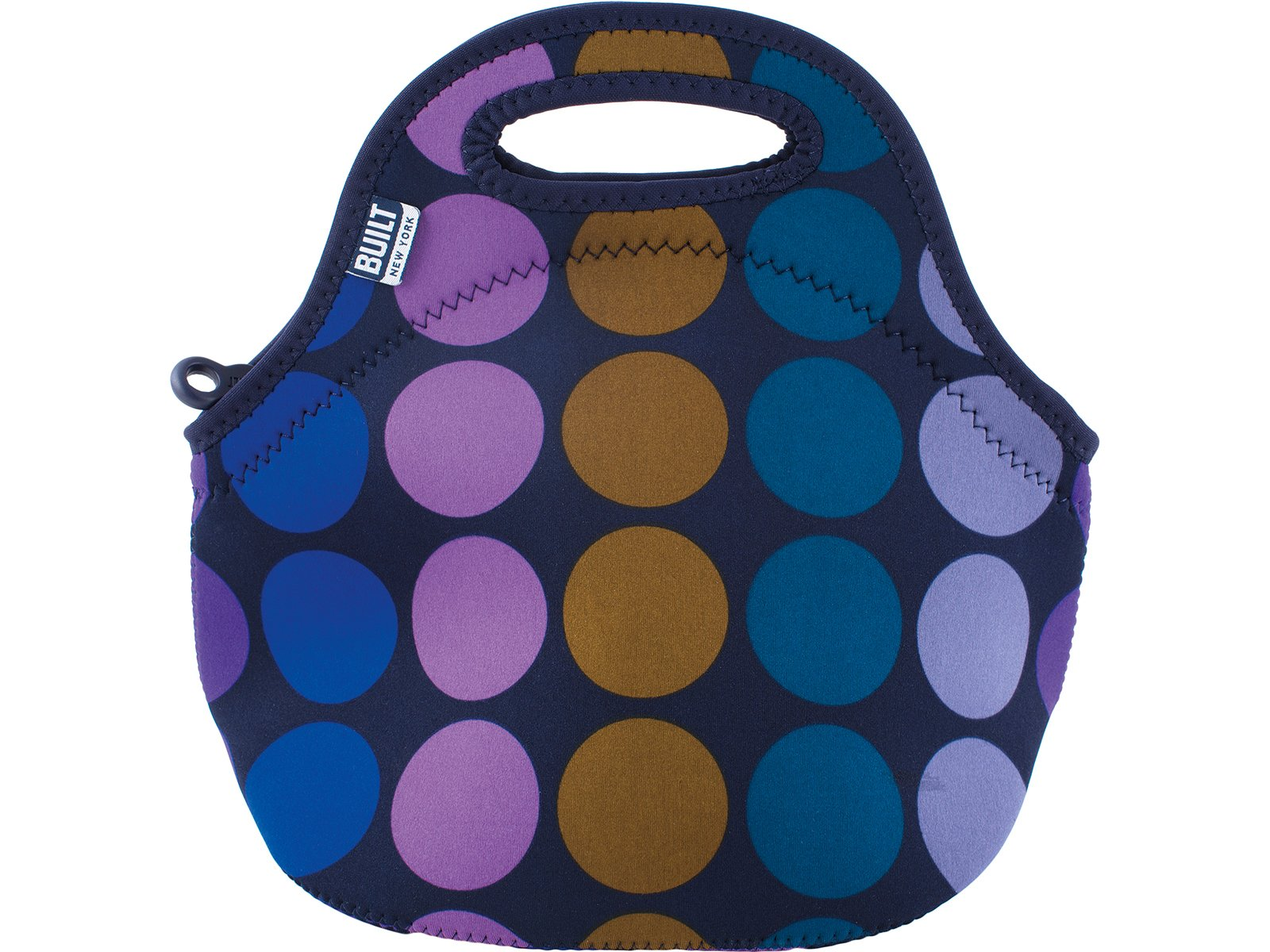 BUILT Gourmet Getaway Mini Soft Neoprene Lunch Tote Bag-Lightweight, Insulated and Reusable, 1 EA, Plum Dot