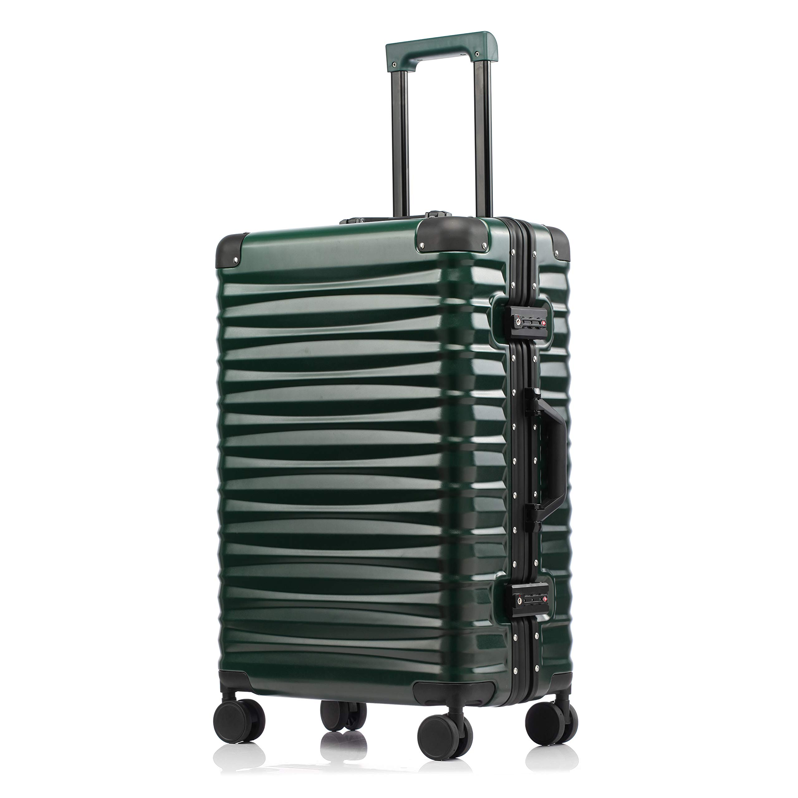Luggage Aluminum Frame Carry On Hardside Spinner Suitcase TSA Lock 20 Inch Dark Green
