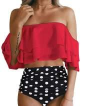 SouqFone Two Piece Swimsuits for Women Ruffle Flounce Off Shoulder Bathing Suits High Waisted Bikini Swimwear