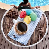 panlen 2019 Premium Round Beach Towel Blanket with Tassels, Beach Throw Blanket, Quick Dry, Picnic Table Cover, Circle Beach Blanket, Pool Coverup, Tablecloth (Macaroon)