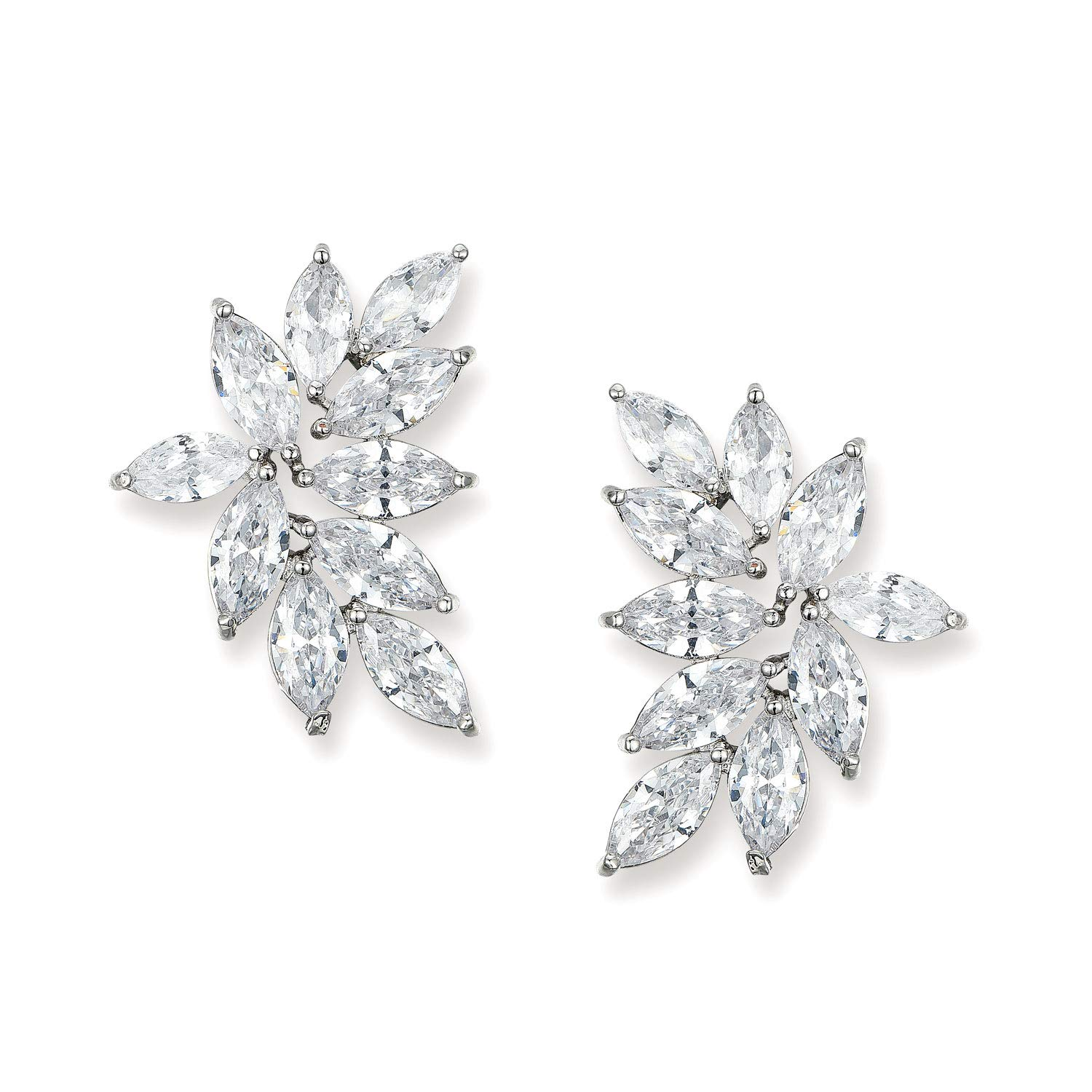 SWEETV Bridal Wedding Earrings for Brides Bridesmaid, Marquise Cubic Zirconia Rhinestone Cluster Earrings for Women, Prom