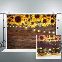 Riyidecor Sunflowers Wooden Backdrop Rustic Kids Light Brown Yellow Country Spring Flowers Photography Background 7x5 Feet Decoration Celebration Props Party Photo Shoot Backdrop Vinyl Cloth