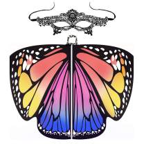 Butterfly Wings for Women & Girls Halloween Butterfly Cloak Shawl & Mask Nymph Pixie Costume
