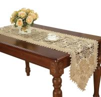 Simhomsen Small Beige Lace Table Runners Dresser Scarves Embroidered Rose Flower 16 × 48 Inch