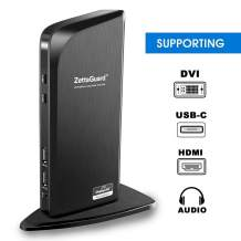 Zettaguard USB 3.0 Universal Laptop Dual Monitor Docking Station Dual Video Monitor Display HDMI & DVI with Gigabit Ethernet, Audio, 6 USB Ports for Laptop, Ultrabook and PC