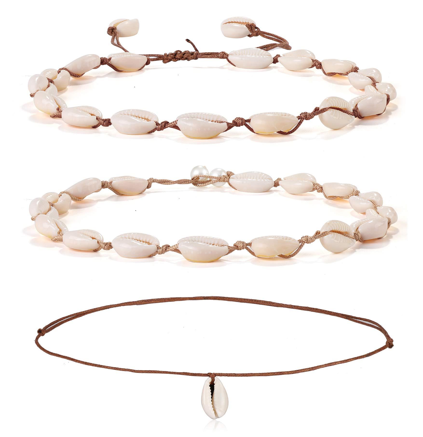 JOERICA 3 Pcs Natural Shell Choker Necklace for Women Girls Hawaii Wakiki Handmade Beach Bead Cowrie Seashell Choker Adjustable