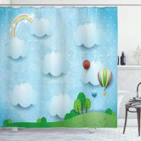 "Ambesonne Nursery Shower Curtain, Nursery Theme with Balloons Clouds and Stars on The Hills Cartoon Style Design, Cloth Fabric Bathroom Decor Set with Hooks, 70"" Long, White Blue"
