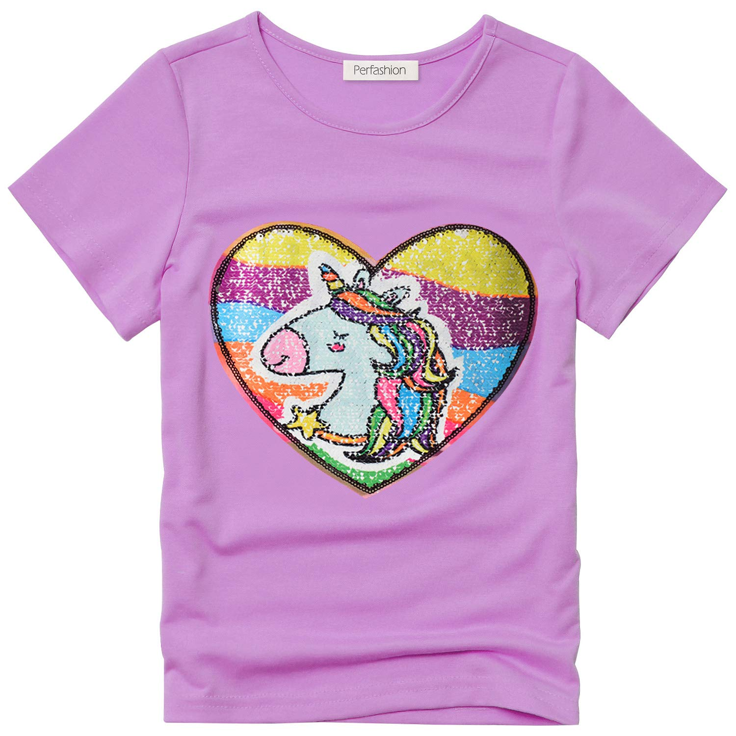 Girls Flip Sequin Shirts Dresses Unicorn Short Sleeve Reversible Summer Clothes