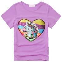 Perfashion Girls Flip Sequin T-Shirt Unicorn Tops Short Sleeve Summer Clothes