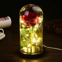 Beauty and The Beast Rose Kit (Beauty and The Beast Rose Kit,Eternal Rose,Red Silk Rose,Forever Rose in Glass Dome with Led Light in Glass Dome On Wooden Base (Beauty and The Beast Black))