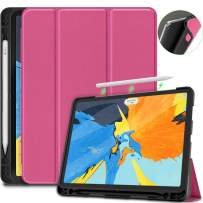 VORI Case for iPad Pro 11 2018, Soft TPU Back Cover with Pencil Holder Trifold Stand Protective Case with Auto Sleep/Wake for iPad Pro 11 Inch 1st Gen, Support iPad Pencil Charging, Pink